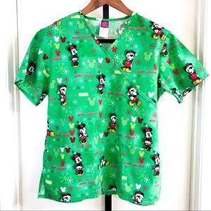Disney Womens M Mickey Minnie Christmas Scrub Top